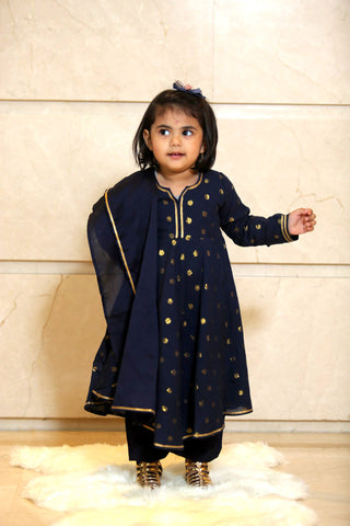 Blue Gold Cotton Suit - Set of 3 - label shreya gupta