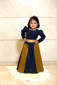 Blue Yellow Cotton Lehenga - Set of 2 - label shreya gupta