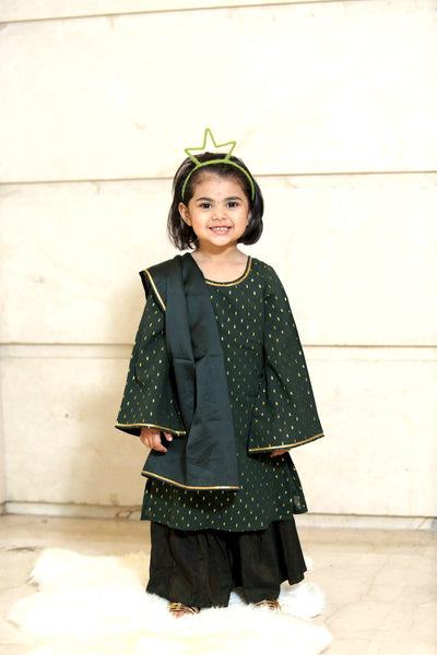 Green Cotton Sharara Kurta - Set Of 3 - label shreya gupta
