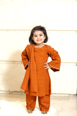 Orange Gold Cotton Suit - Set of 3 - label shreya gupta