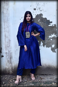 Naavy Blue Chanderi Kurta & Palazo - Set of 2 - label shreya gupta