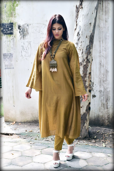 Mustard Wide Sleeve Chanderi Kurta - label shreya gupta
