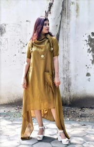 Mustard Chanderi Silk Asymmetric Dress - label shreya gupta