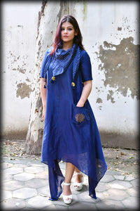 Navy Blue Chanderi Silk Asymmetric Dress - label shreya gupta