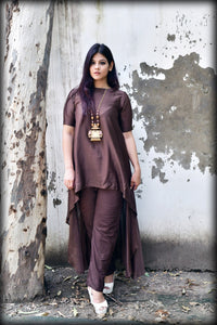 Brown Cotton Silk Palazo - label shreya gupta