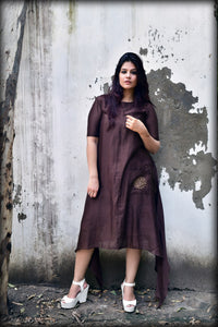 Brown Chanderi Silk Asymmetric Dress - label shreya gupta