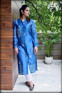 Blue White Hand Block Printed Kurta With Inner - label shreya gupta