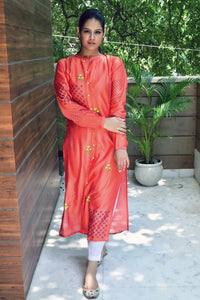 Orange Red Hand Block Printed Kurta With Inner - label shreya gupta