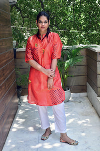 Red Orange Hand Block Printed Kurta With Inner - label shreya gupta