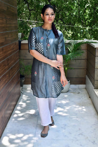 Grey White Hand Block Printed Kurta With Inner - label shreya gupta