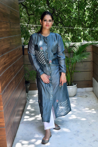 Grey Hand Block Printed Kurta With Inner - label shreya gupta