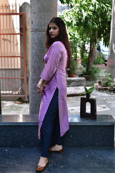 Mauve Teal Chanderi Kurta - label shreya gupta
