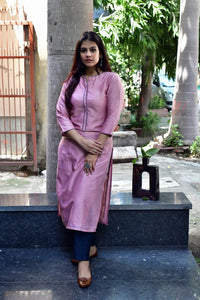 Pink Teal Chanderi Kurta - label shreya gupta