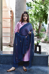 Teal Blue-Pink Embroidered Chanderi Suit - Set of 3 - label shreya gupta