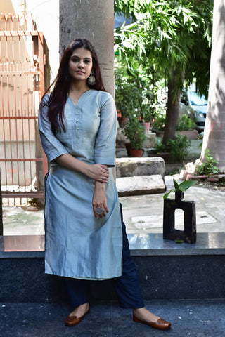 Mint Green Teal Chanderi Kurta - label shreya gupta