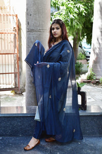 Teal Blue Chanderi Dupatta - label shreya gupta