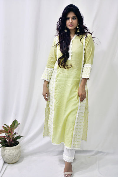 Lemon Yellow Cotton Embroidered Sleeve Suit-Set of 3 - label shreya gupta