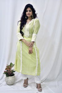 Lemon Yellow Cotton Embroidered Kurta - label shreya gupta