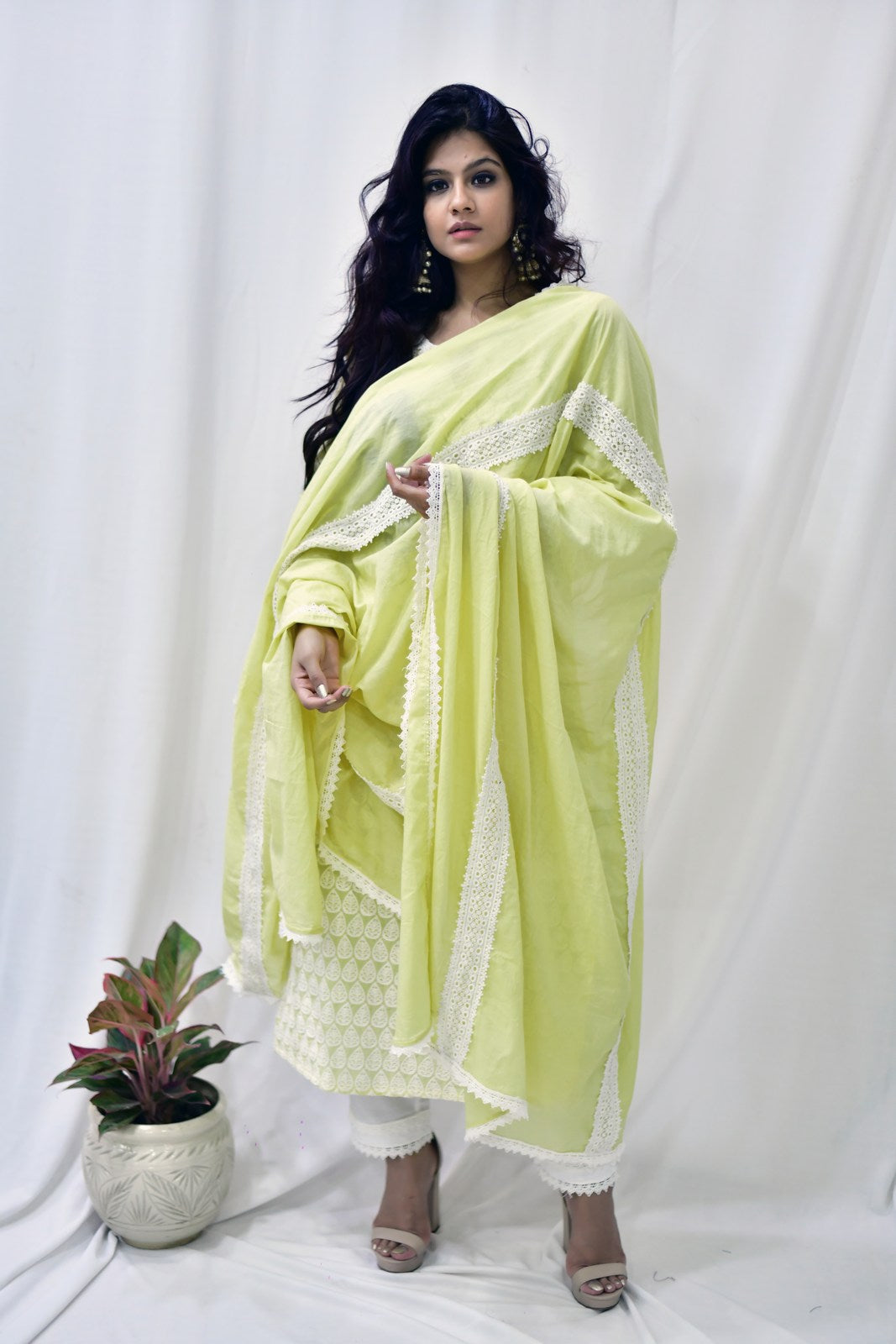 Lemon Yellow Cotton Dupatta - label shreya gupta