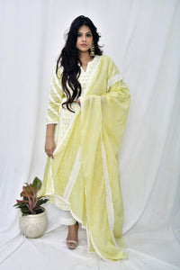Lemon Yellow Cotton Embroidered Suit-Set of 3 - label shreya gupta