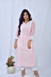 Baby Pink Cotton Embroidered Kurta - label shreya gupta