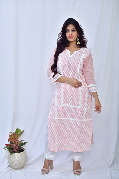 Baby Pink Cotton Embroidered Suit-Set of 3 - label shreya gupta