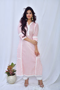 Baby Pink Cotton Embroidered Sleeve Kurta - label shreya gupta