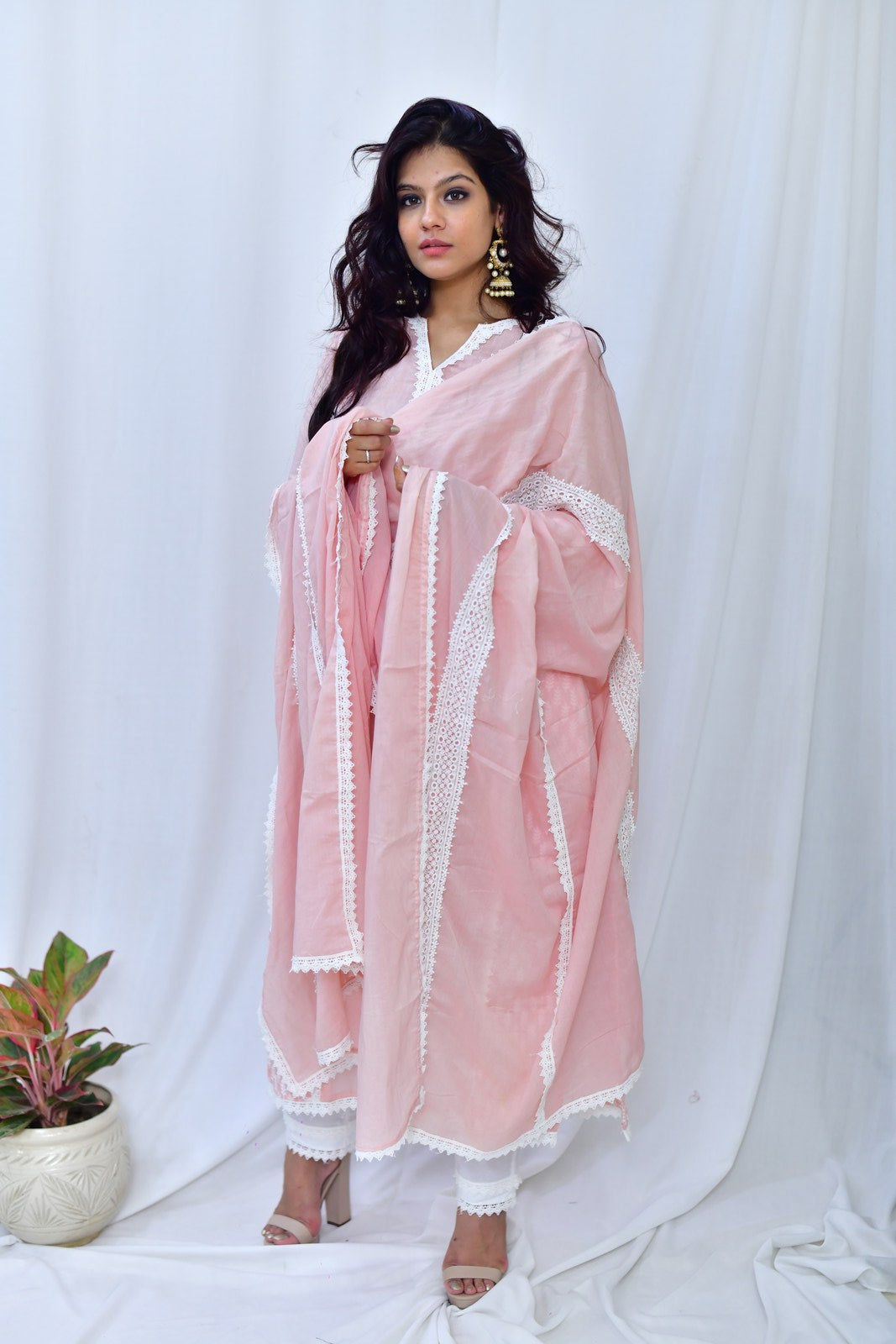 Baby Pink Cotton Embroidered sleeve Suit-Set of 3 - label shreya gupta