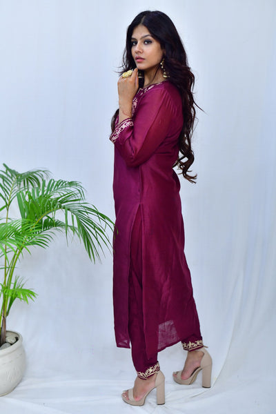 Pink Cotton Silk Embroidered Palazo pants - label shreya gupta