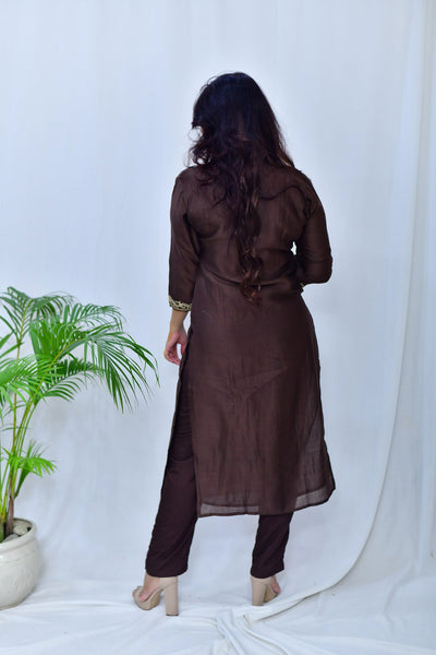 Brown Chanderi Badla Embroidered Kurta & Palazo - Set of 2 - label shreya gupta