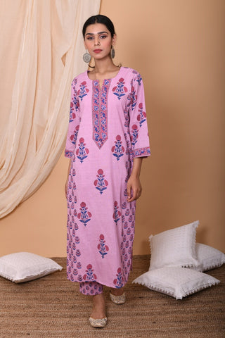 Lilac Hand Block Printed Cotton Kurta