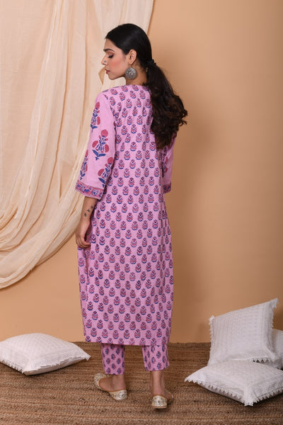 Lilac Hand Block Printed Cotton Suit-Set of 3