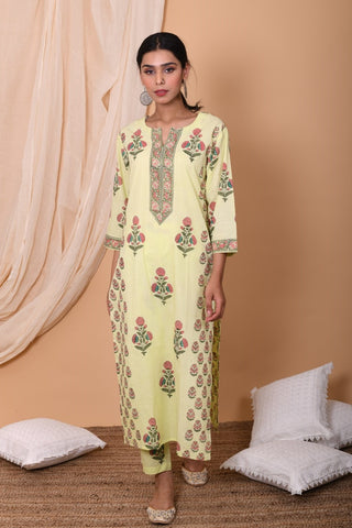 Lemon Hand Block Printed Cotton Kurta