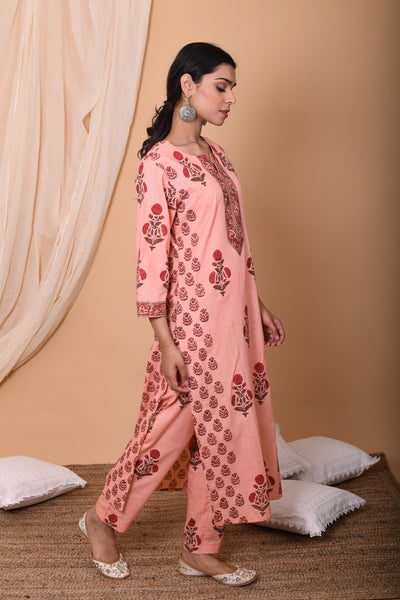 Peach Hand Block Printed Cotton Kurta