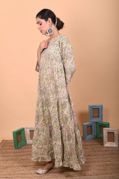 Floral 3 Tier Multi Colour Cotton Anarkali