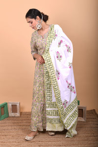 White Green Hand block Printed Gotta Cotton Dupatta