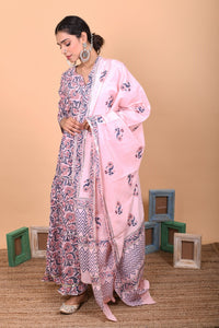 Pink Layered Cotton Hand Block Printed Anarkali Suit-Set of 3