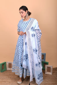 Blue Cotton Hand Block Printed Anarkali Suit-Set of 3
