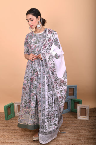 Grey Cotton Hand Block Printed Anarkali Suit-Set of 3