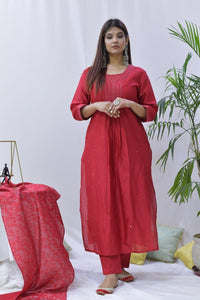 Red Chanderi Hand Embroidered Kurta - label shreya gupta