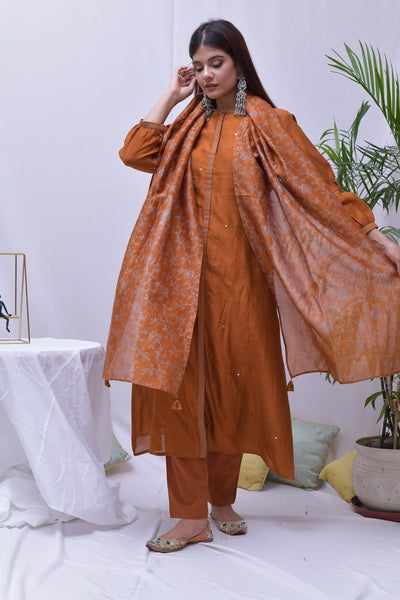 Rust Orange Chanderi Hand Embroidered Suit - Set of 3 - label shreya gupta