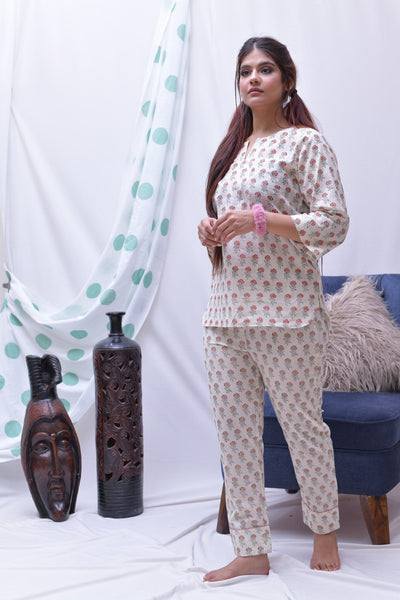 Copy of Cream Peach Hand Block Printed Cotton Loungewear- Set of 2 - label shreya gupta