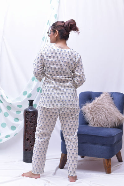 Cream Blue Hand Block Printed Cotton Loungewear- Set of 2 - label shreya gupta