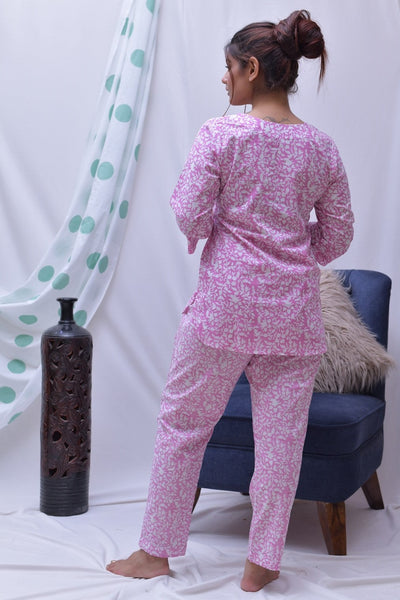 Pink White Hand Block Printed Cotton Loungewear- Set of 2 - label shreya gupta