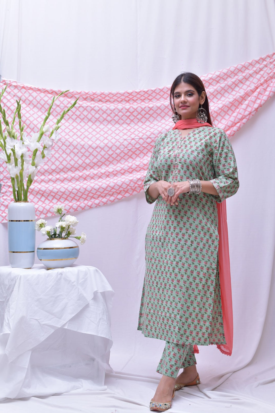 Green Pink Cotton Hand Block Printed Kurta - label shreya gupta