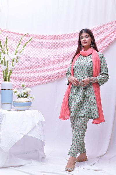 Pink Green Cotton Hand Block Printed Suit-Set of 3 - label shreya gupta