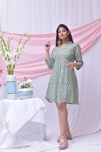 Green Pink Hand Block Printed Cotton Dress - label shreya gupta