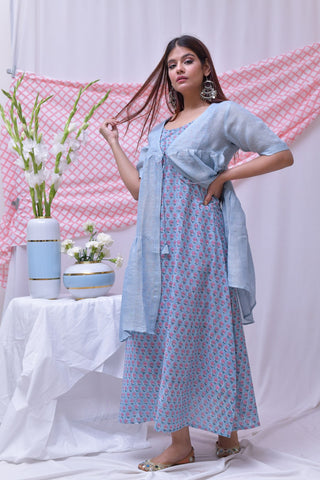 Blue Pink Hand Block Printed Cotton Dress - label shreya gupta