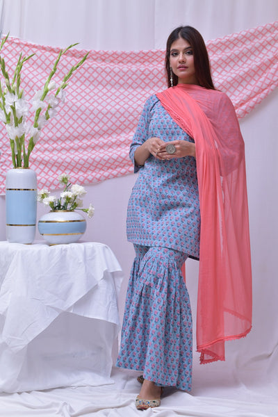 Pink Blue Cotton Hand Block Printed Sharara -Set of 3 - label shreya gupta