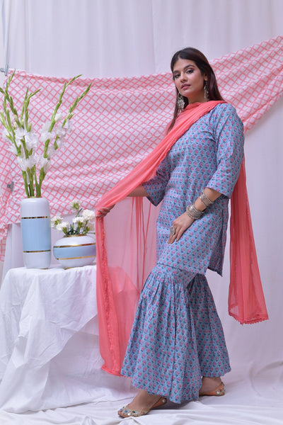 Blue Hand block Printed Cotton Sharara - label shreya gupta